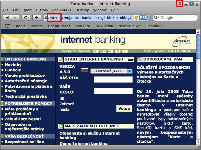 Informácie o zabezpečení Tatra Banky