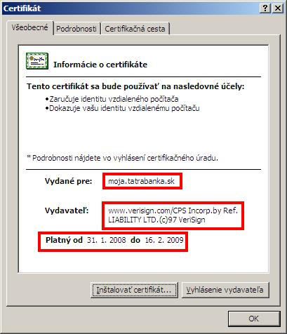 Detaily certifikátu
