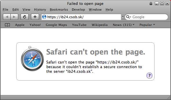 Prehliadač Safari vôbec nenačíta stránku s neplatným certifikátom